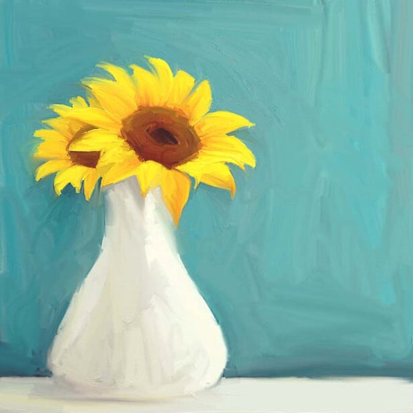 FL-215 Sunflowers in White Vase