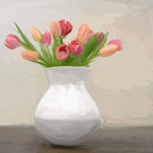 FL-216 Tulips in White Vase