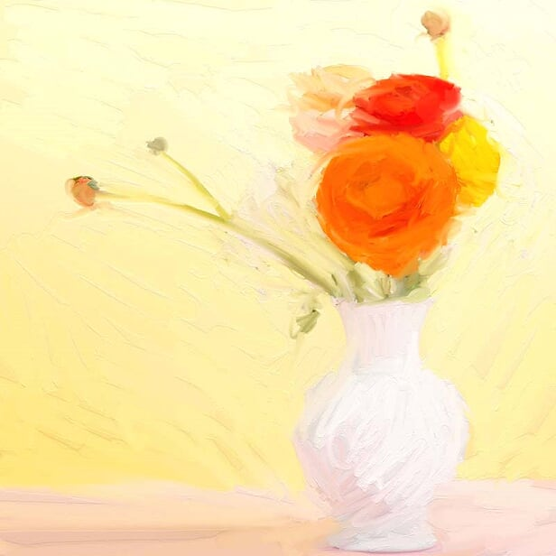 FL-217 Orange Ranunculus in  White Vase