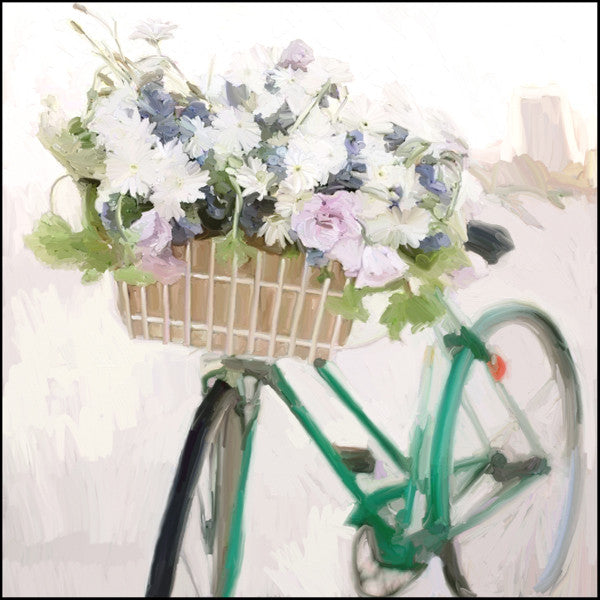 Green Bike with Flower Basket