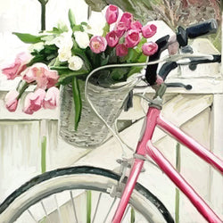 FL-129 Pink Bike with flower basket