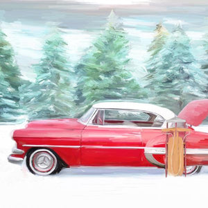 Red chevy with sled