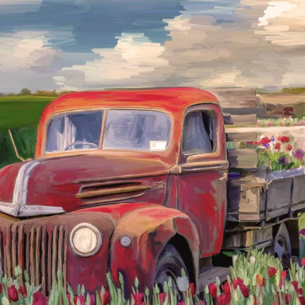 Red Ford Flower Truck