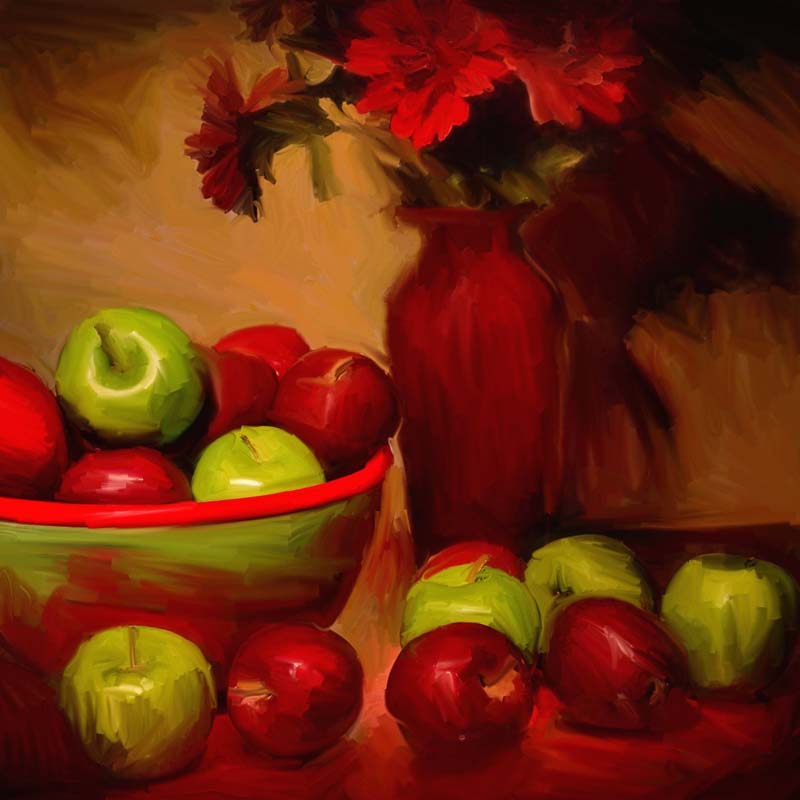 Red Vase Green Apples