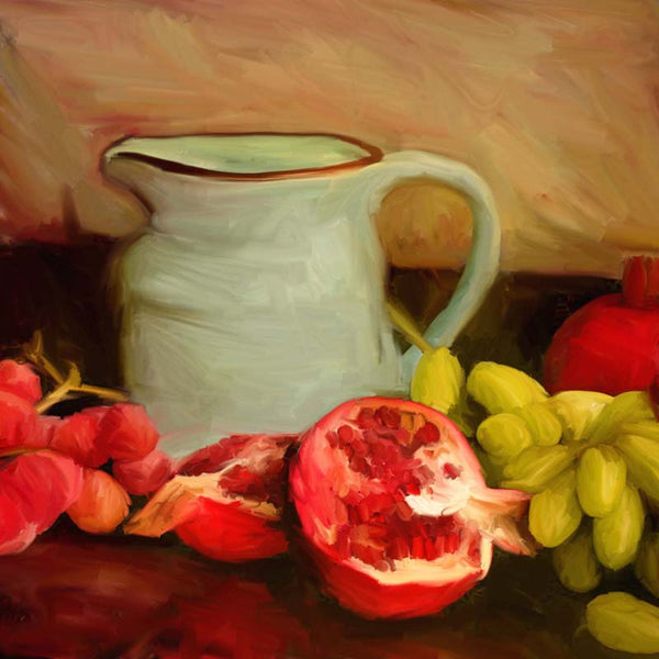 Fl-218 Milk jug with pomegranates