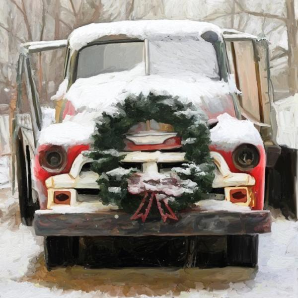 Wreath Truck with Snow
