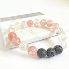 Cherry Quartz Gemstone Aromatherapy Diffuser Bracelet 10mm