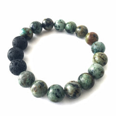 African Turquoise Gemstone Essential Oil Diffuser Bracelet 10mm