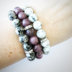 Purple Tourmaline Gemstone Essential Oil Diffuser Bracelet 10mm