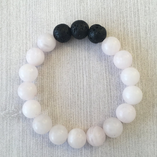 Matte Rose Quartz Gemstone Essential Oil Diffuser Bracelet 10mm