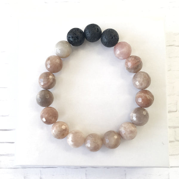 Pink Moonstone Essential Oil Diffuser Bracelet 10mm