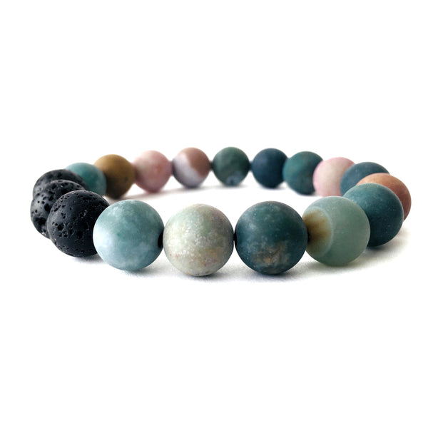 Matte Indian Agate Essential Oil Diffuser Bracelet 10mm