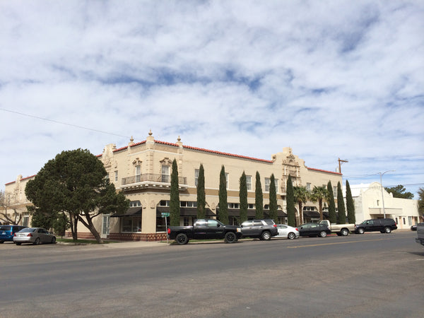 Street view of the Hotel Paisano, Marfa, TX