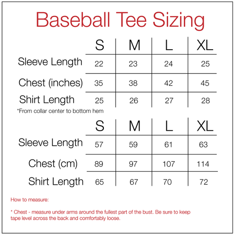 Men's 3/4 Sleeve Baseball Tee Size Guide