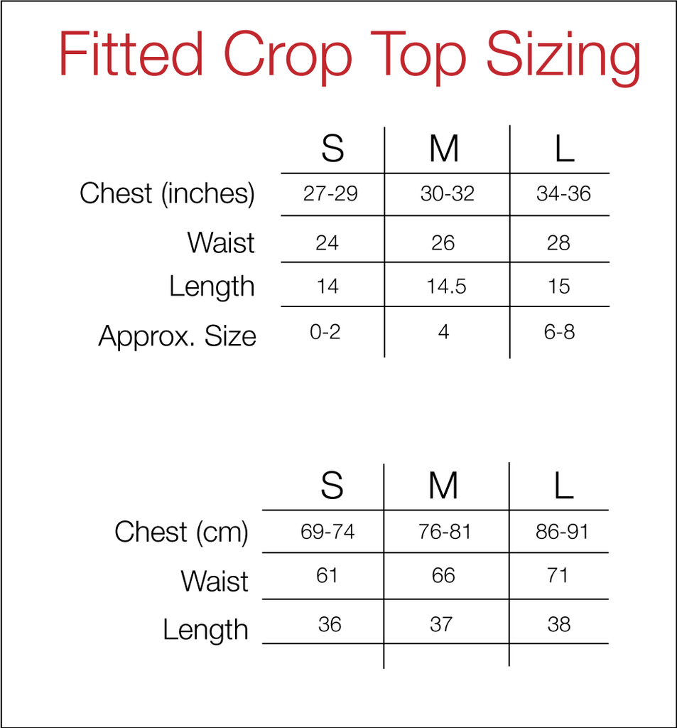 Women's Fitted Crop Top Size Guide