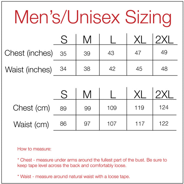 Men's Standard T-Shirt Sizing Guide
