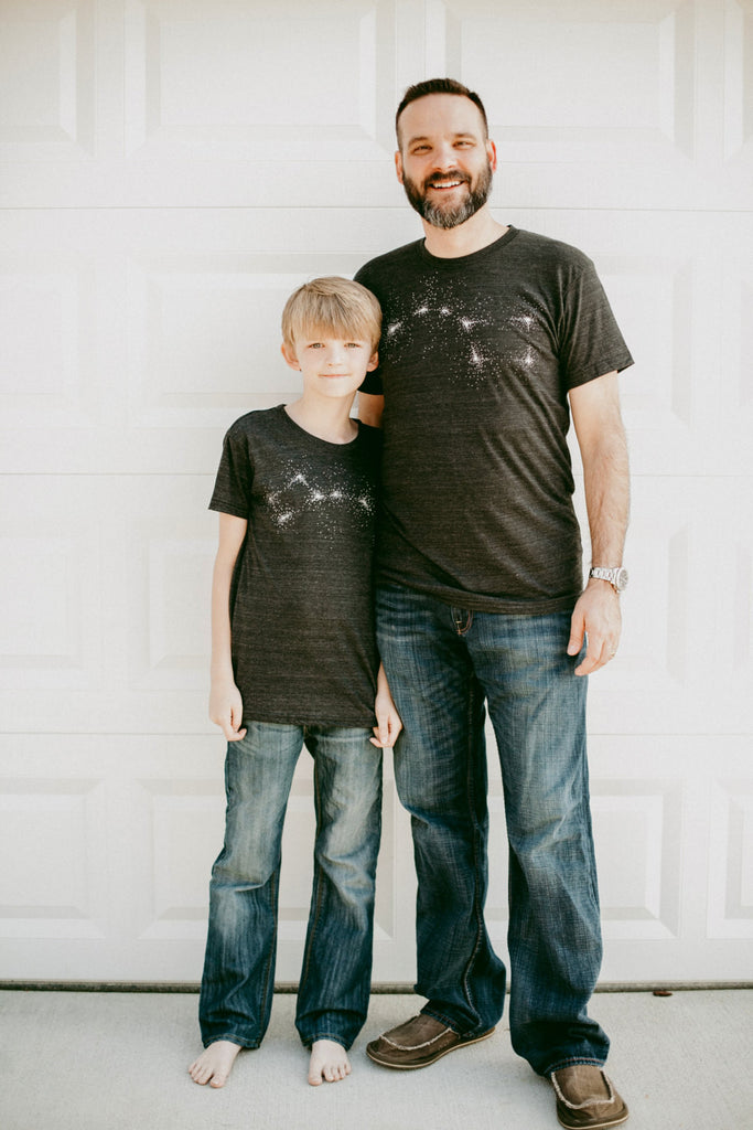 Father and Son T-Shirt Set - Black