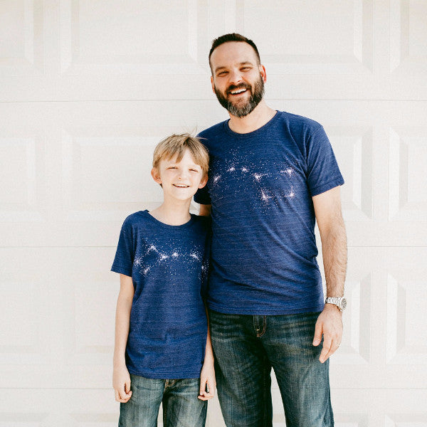 Father Child, Big & Little Dipper T-Shirt Set - Blue
