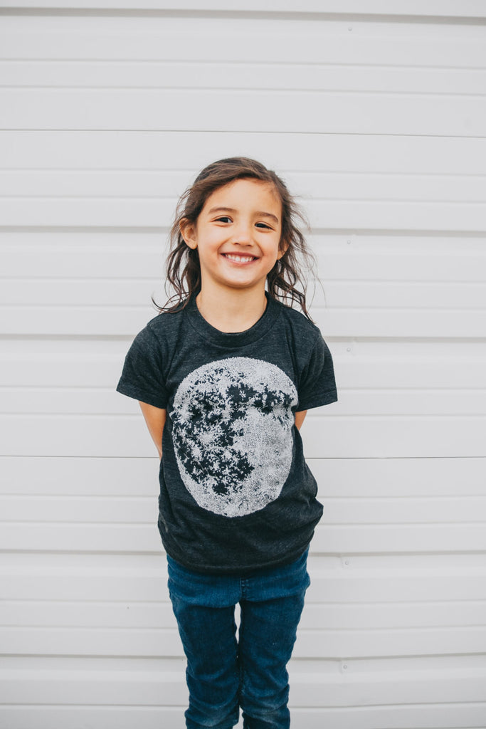 Kid's Full Moon T Shirt - Black