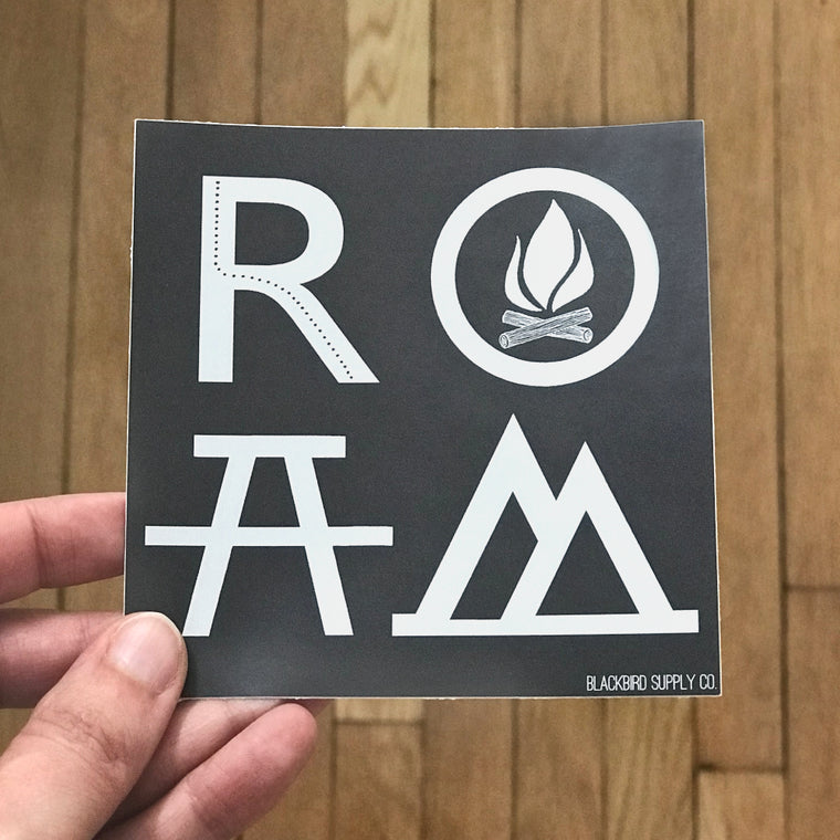 ROAM Bumper Sticker - Wanderlust Car Camping Travel & Adventure Gift - Black