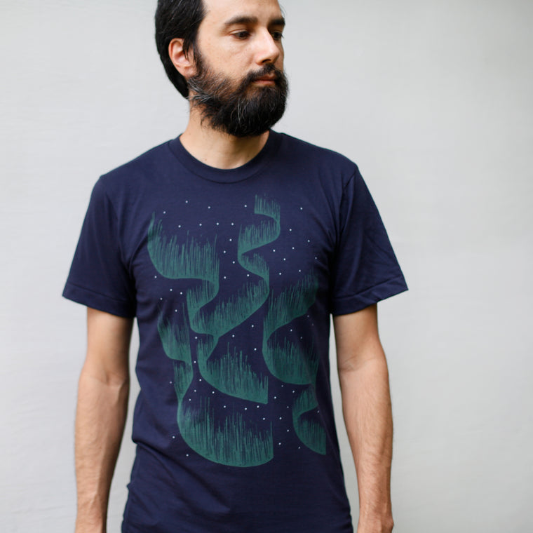 Aurora Borealis Northern Lights Night Sky Stars Mens Tee Navy Blue