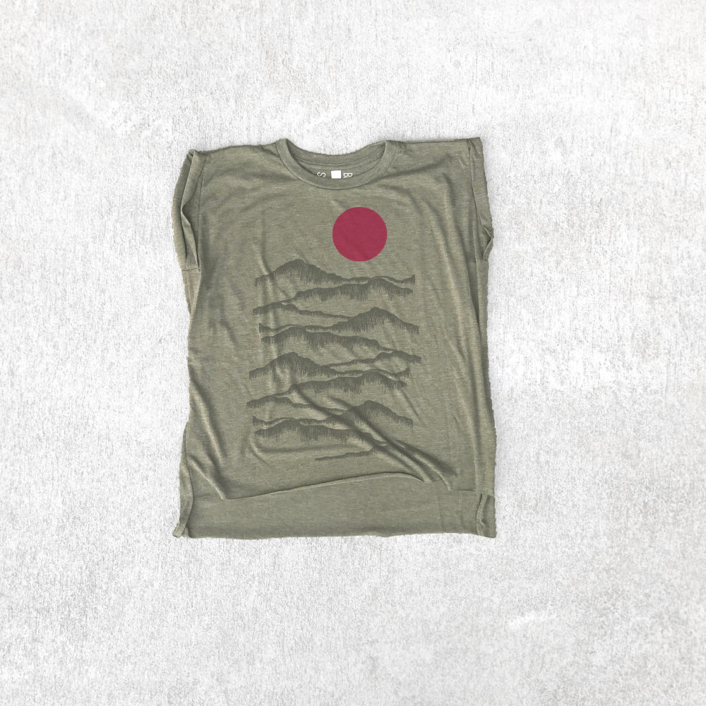 Women's Rolled Cuff Shirt - Badlands National Park - Heather Olive