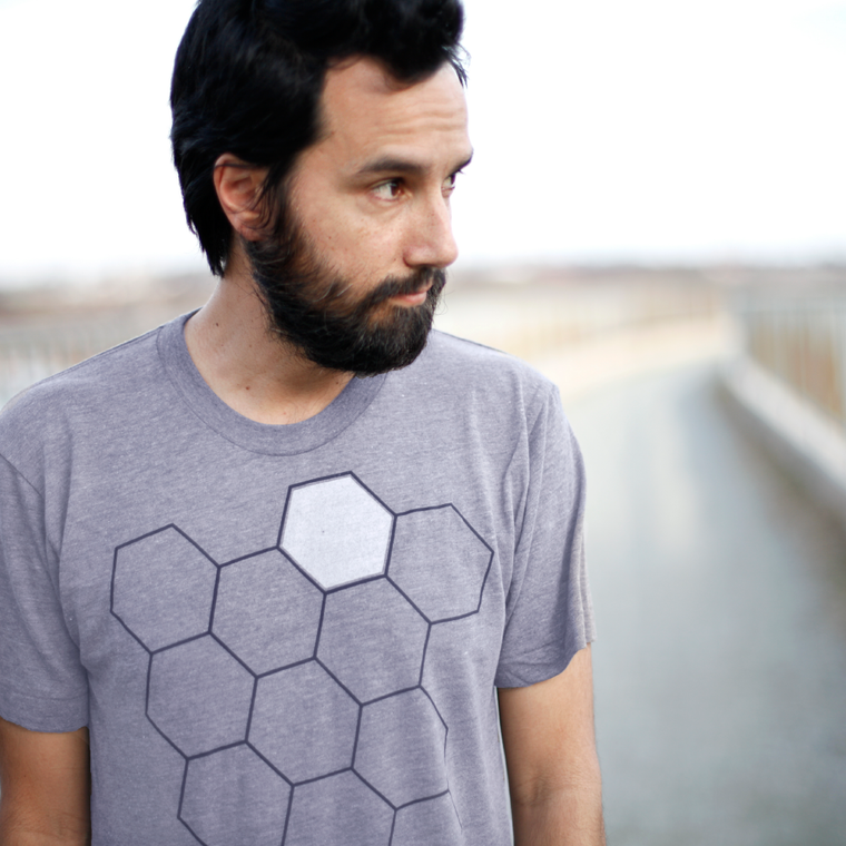 Beekeeper - Mens Beehive Shirt - Honeycomb and Hive Screen Print - Gray