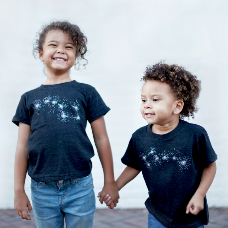 Matching Sibling Shirt Set, Brother and Sister Gift - Big & Little Dipper Constellations - Black