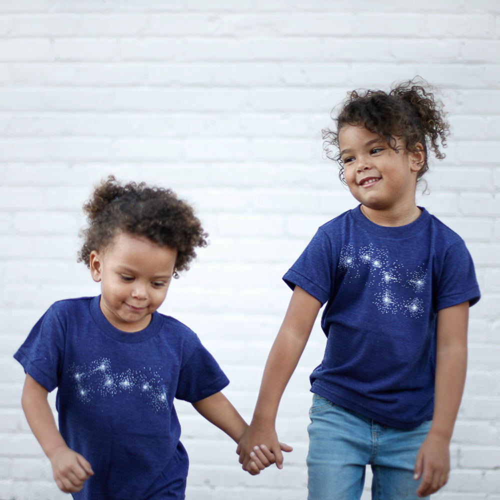 Big & Little Dipper Matching Brother Sister Sibling T-Shirt Set - Blue