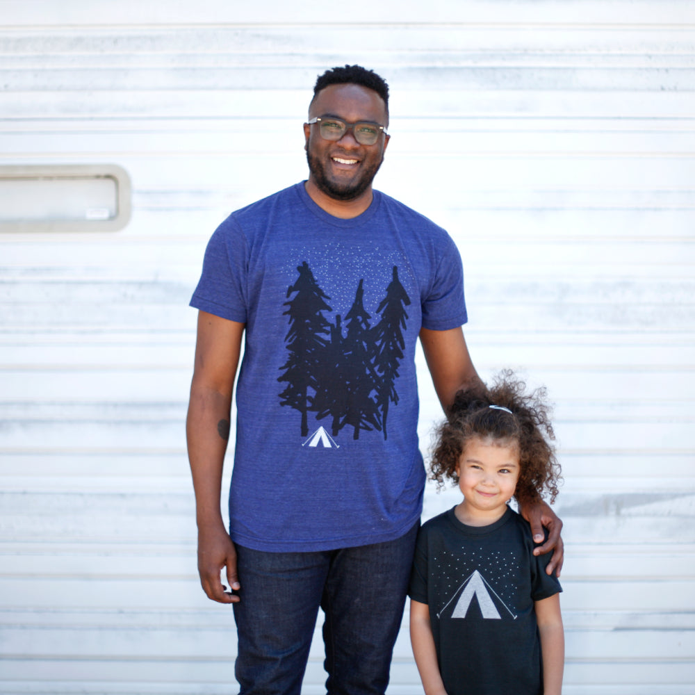 "The <a href=""https://www.blackbirdsupply.com/products/father-son-matching-shirts-starry-night-camping-and-adventure-tshirt-set"" target=""blank"">dad & daughter version</a> of our Starry Night t-shirt set."