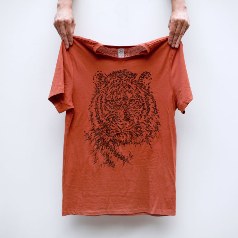 Easy Tiger Animal Print Organic Cotton Unisex Tee on Burnt Orange