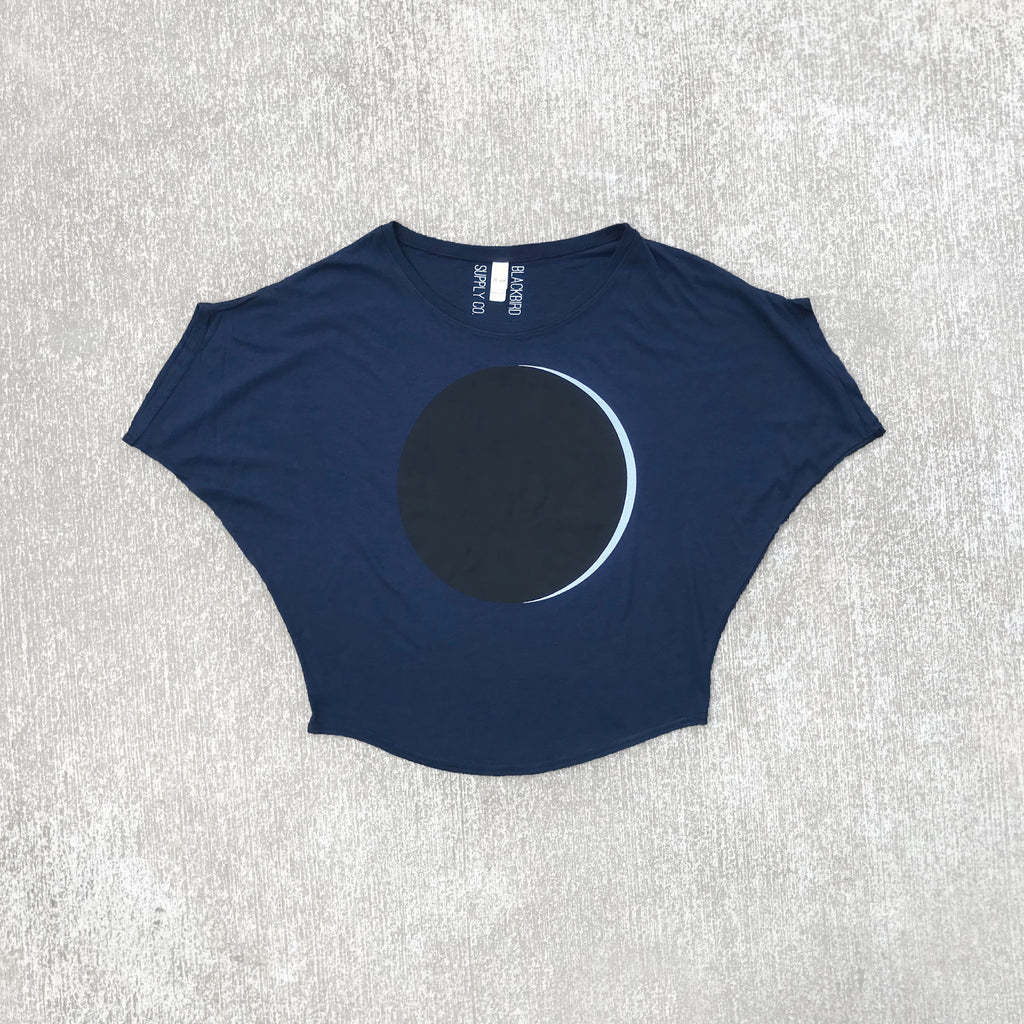 Solar Eclipse Organic Cotton / Bamboo Off The Shoulder Top Navy Blue