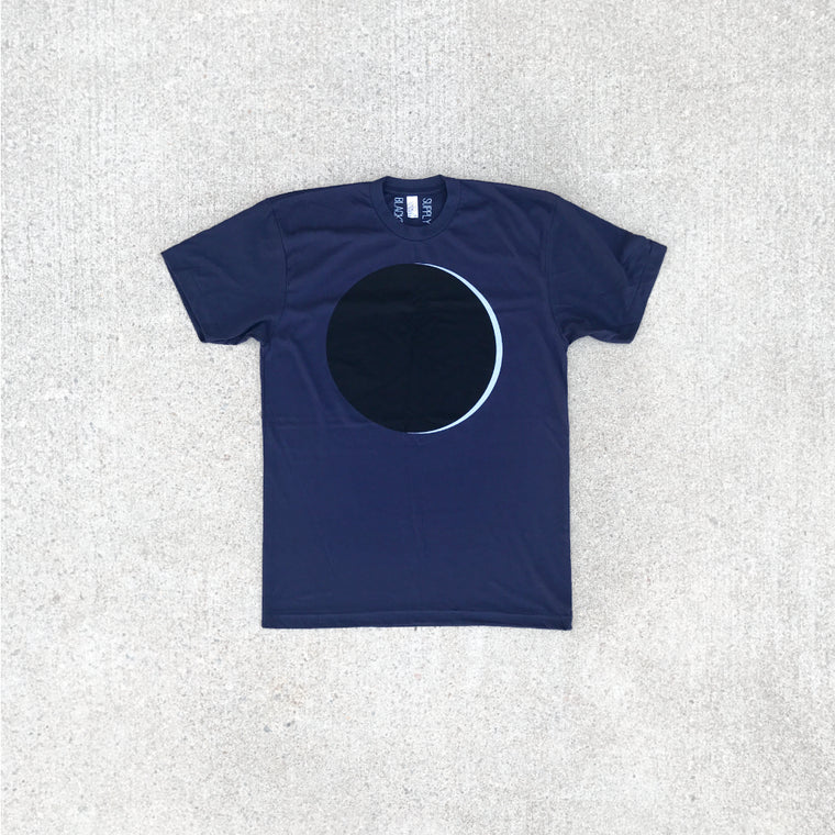 Solar Eclipse Full Moon T-Shirt Men's Graphic Tee on Navy Blue