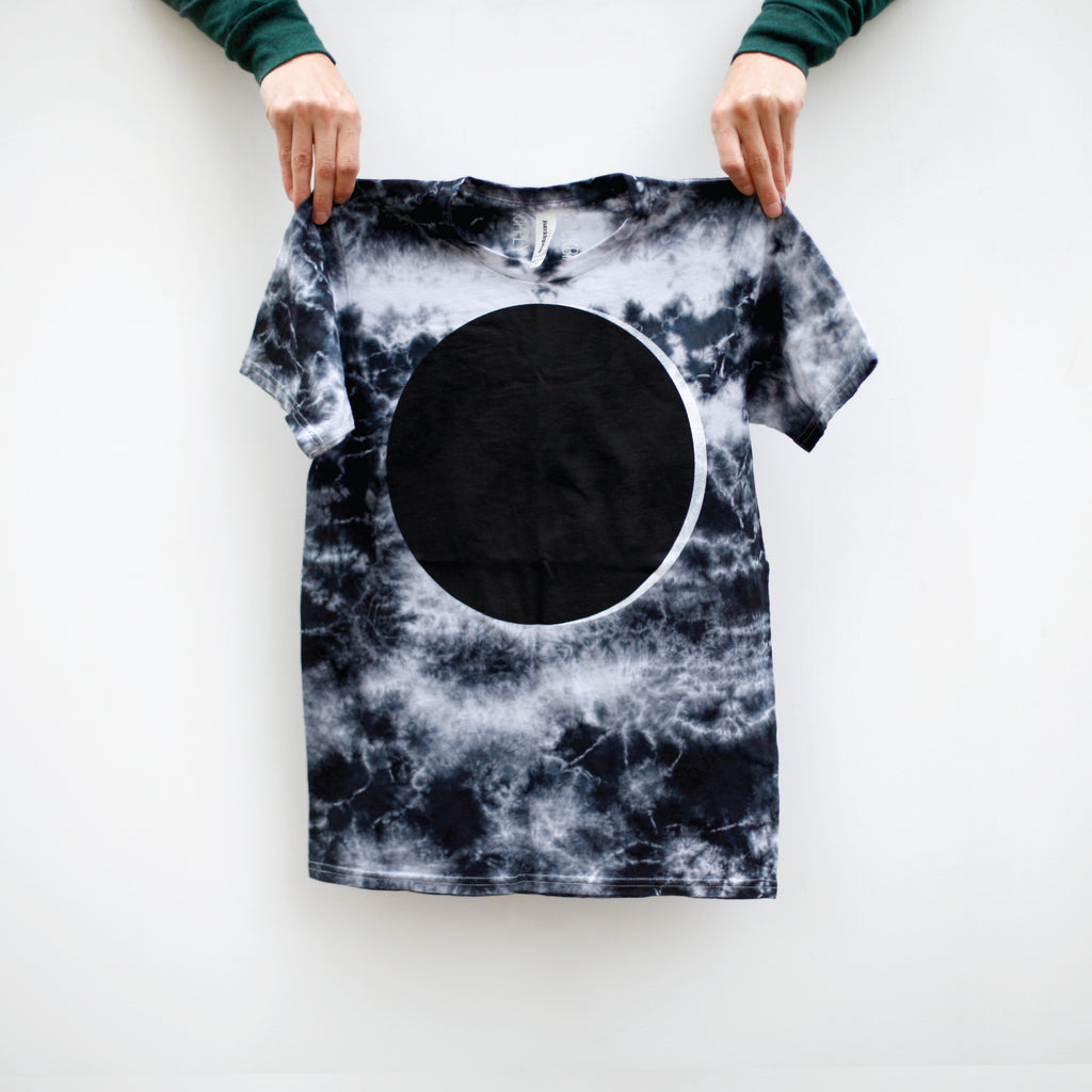 Solar Eclipse Full Moon Tie Dye T-Shirt Made in the USA - Phantom Blue