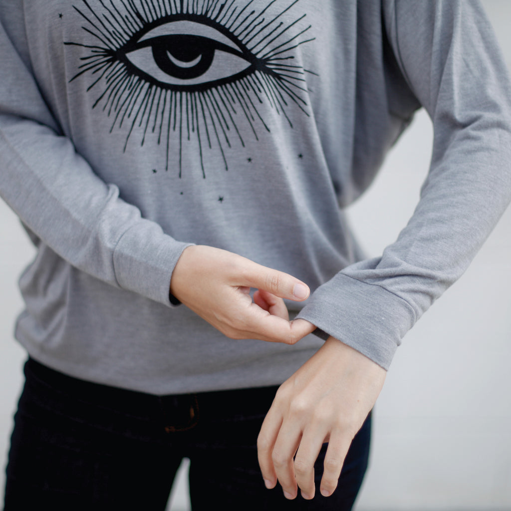Third Eye Moon and Stars Hex Print - Long Sleeve Dolman Top - Gray