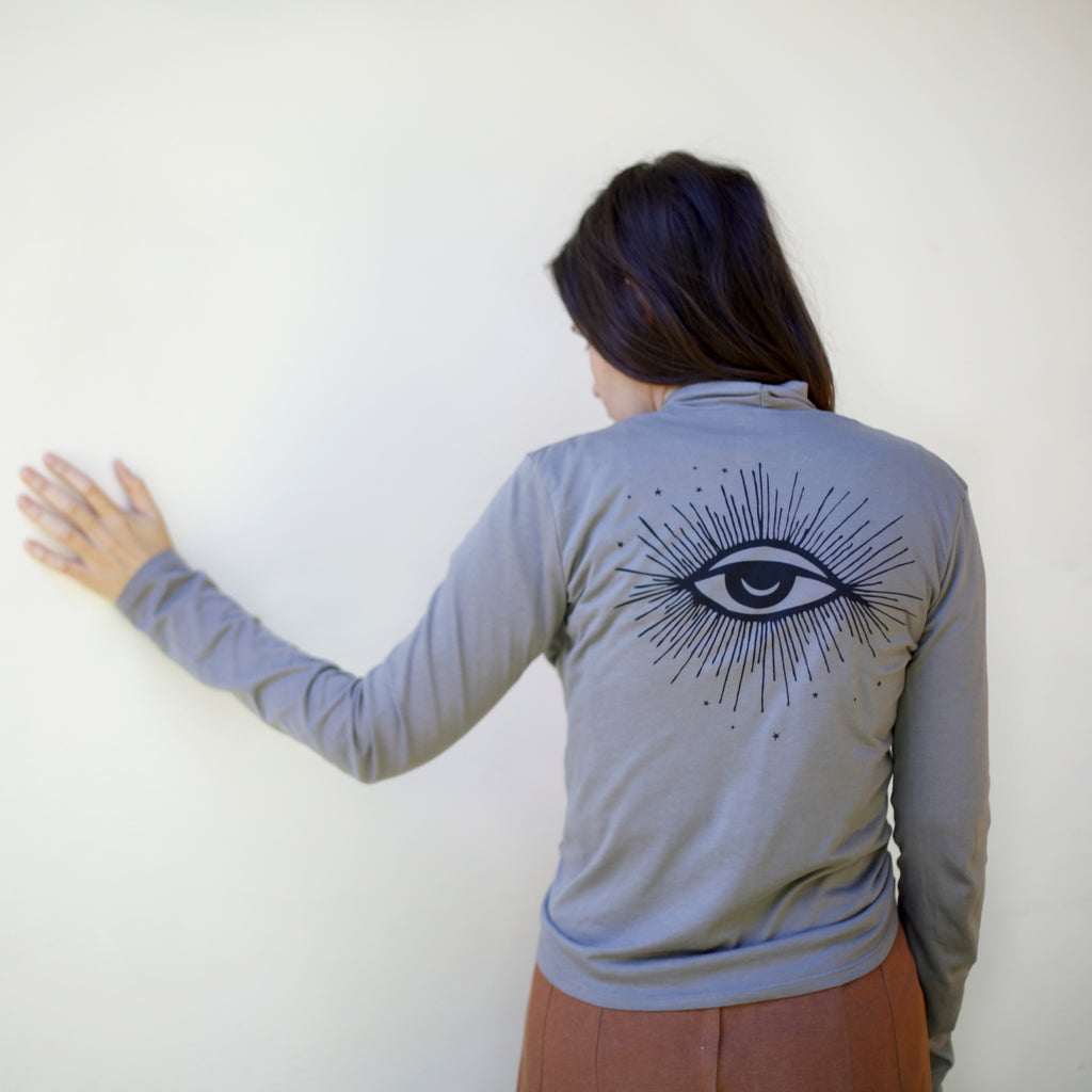 Hex Third Eye Print Lightweight Cotton Boho Wrap on Slate Gray