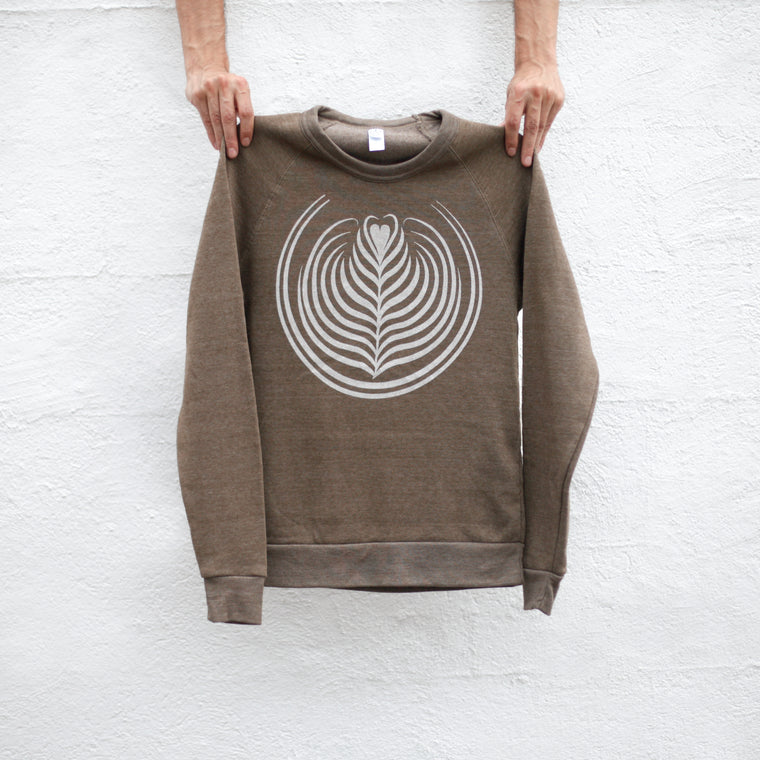 Coffee Lover Sweatshirt, Espresso Latte Art Design Unisex Pullover