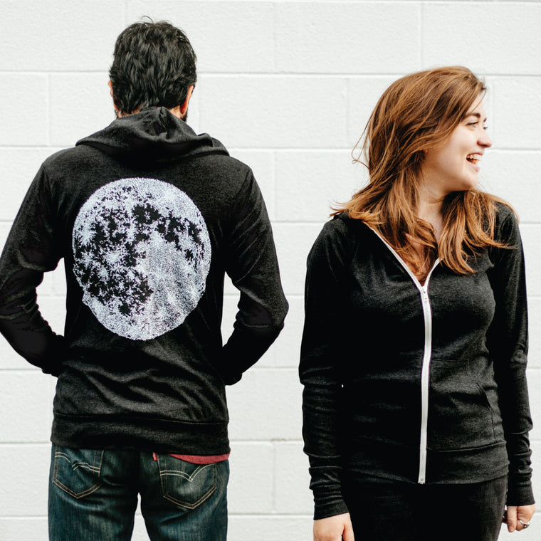 Full Moon Lunar Night Sky Astronomy Lightweight Zip Hoodie Solid Black