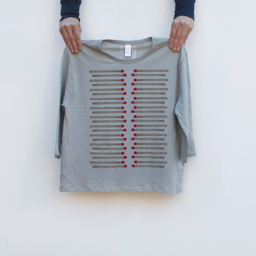 Matchsticks Camping Print Organic Cotton Half Sleeve Boxy Top Tee Light Gray