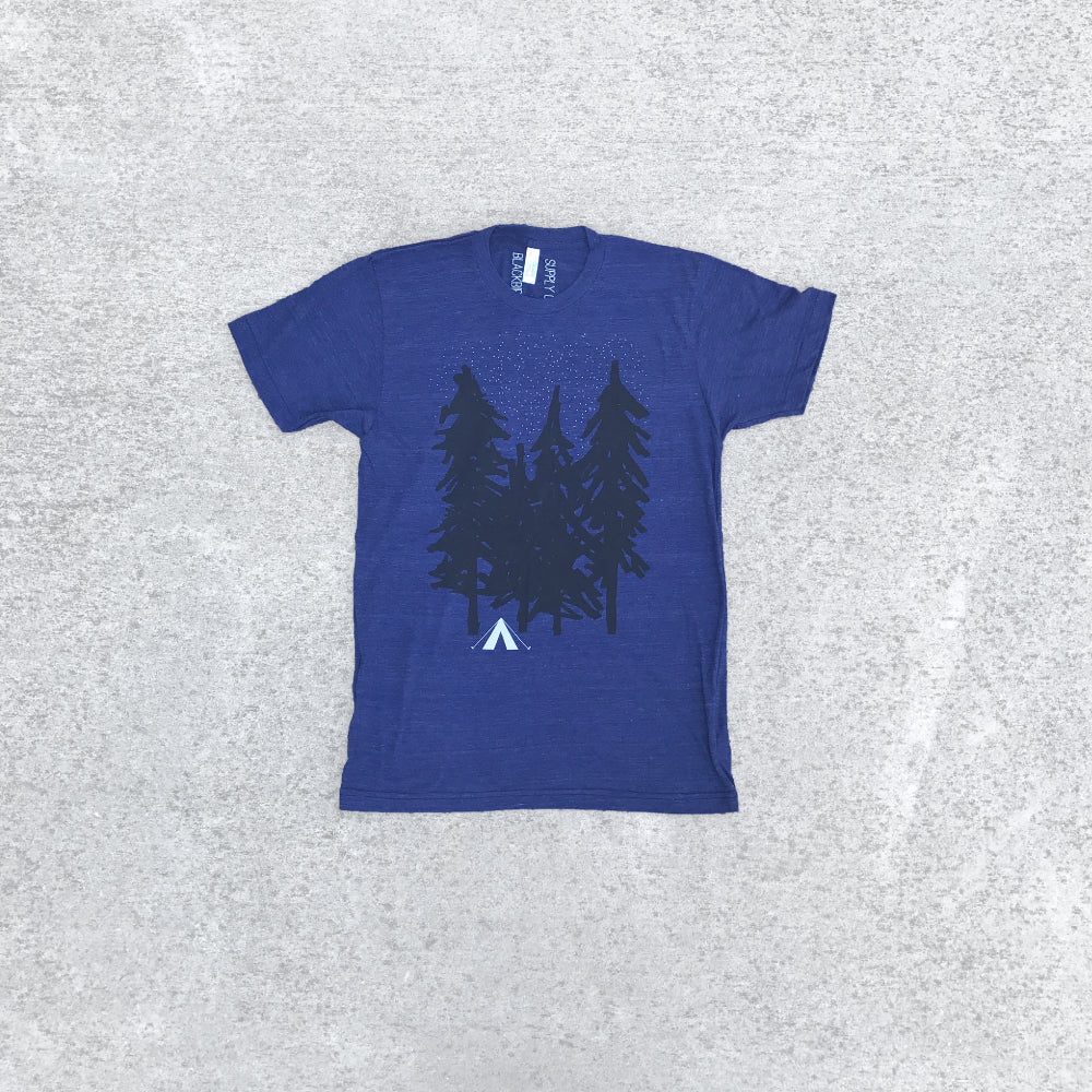 Starry Night - Men's Graphic Tee Camping Print - Indigo Blue