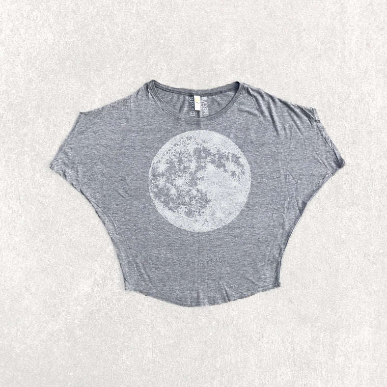 Full Moon Celestial Organic Cotton Bamboo Off The Shoulder Top Gray
