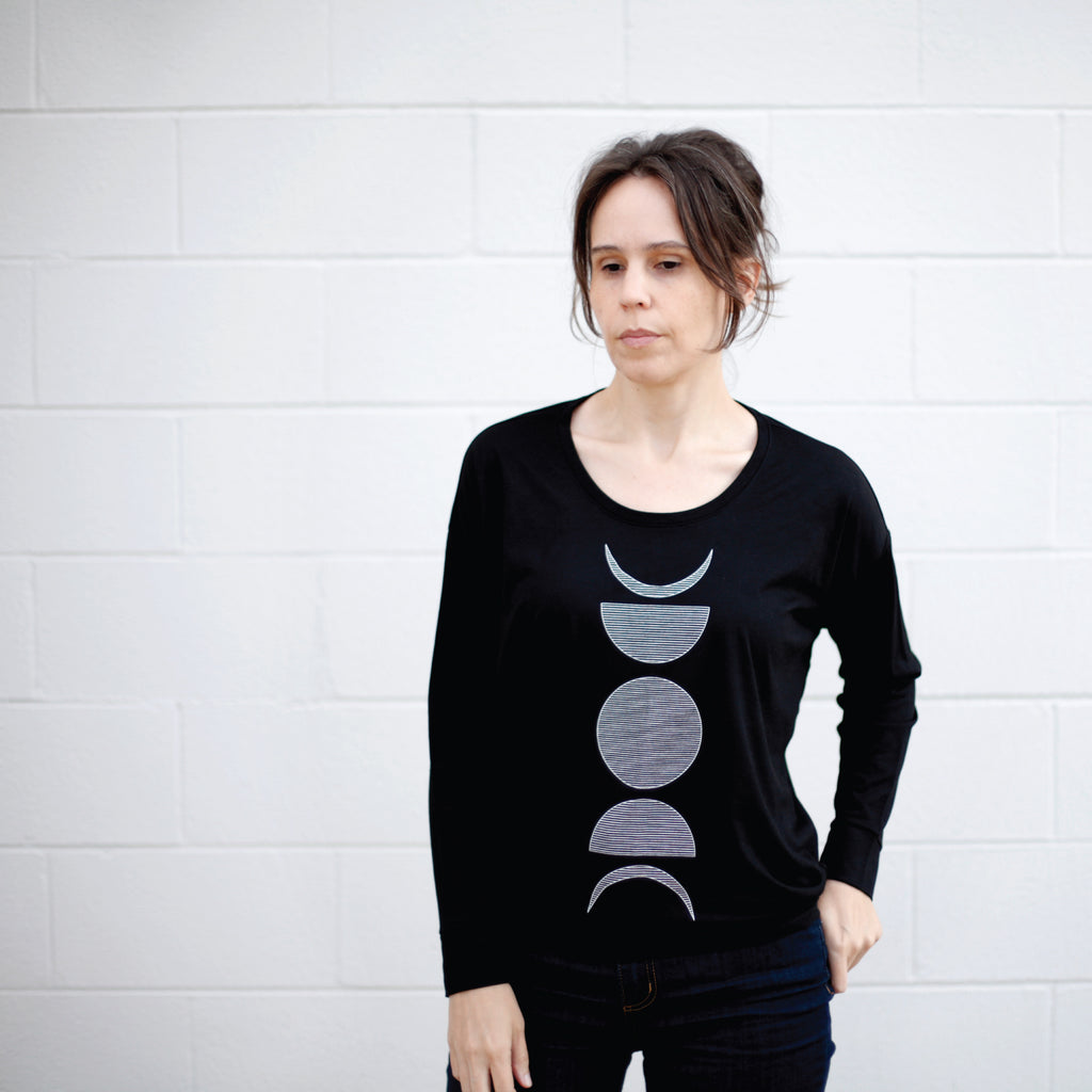 Moon Phases Long Sleeve Dolman Style Top - Solid Black