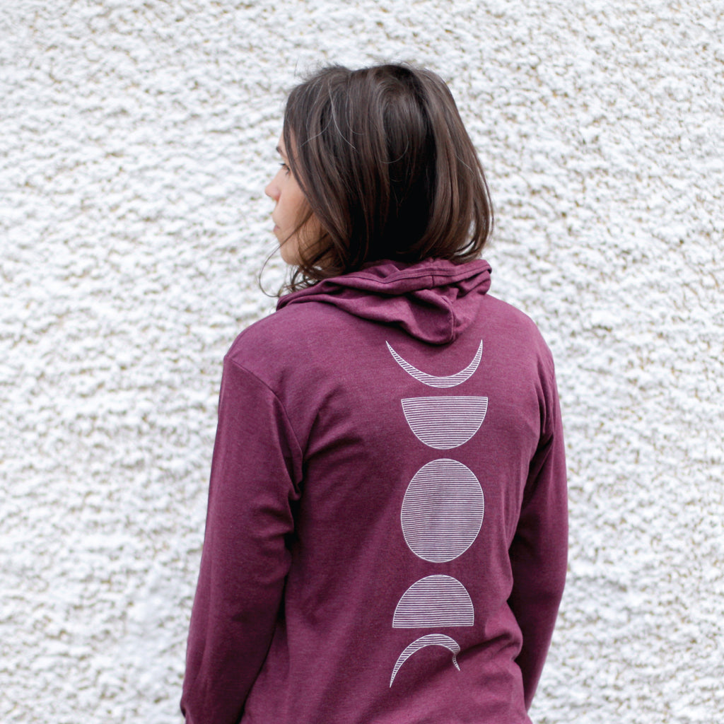 Moon Phases Lunar Cycle Geometric Print Lightweight Zip Up Hoodie Maroon