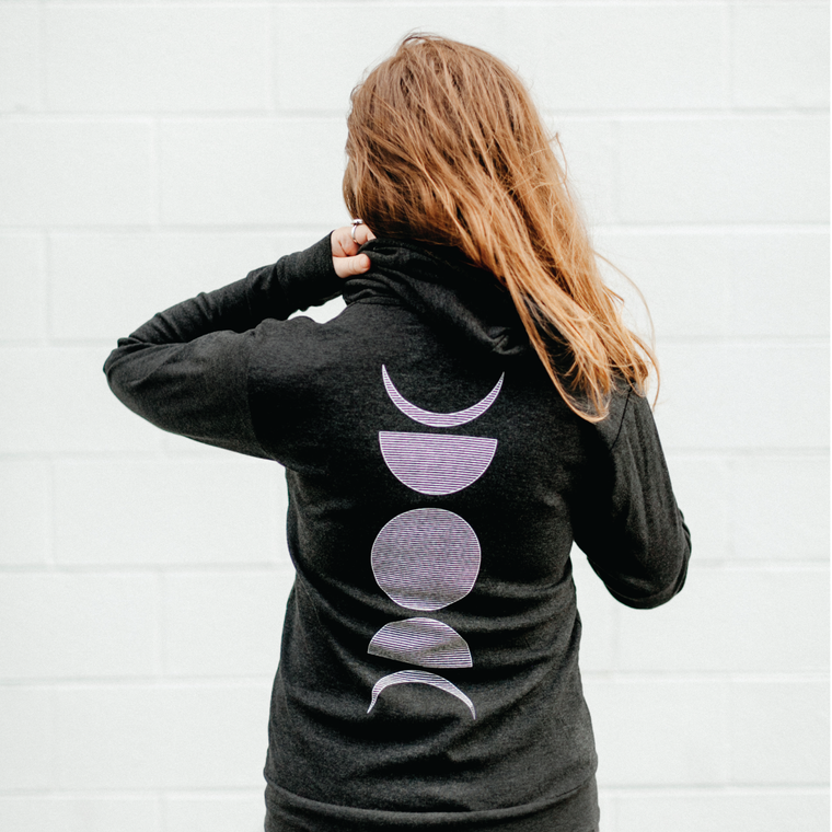 The Moon Phases Lightweight Zip Hoodie.