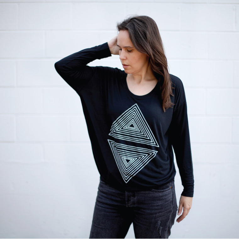 Rule of Thirds - Geometric Long Sleeve Dolman Style Top - Solid Black