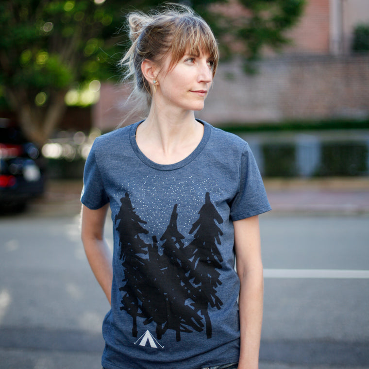 Starry Night - Women's Camping / Adventure Print - Indigo Blue