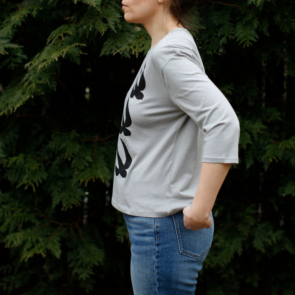 Women's Loose Fit Cropped Boxy Top / Organic Cotton Half Sleeve T-shirt / Chimney Swift Bird Print