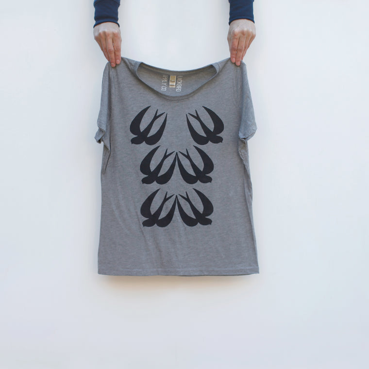 Chimney Swift Birding Bamboo Organic Cotton Womens Tee Cloudburst Gray
