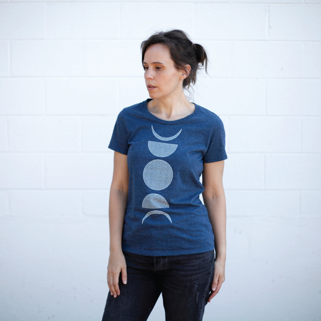 Moon Phases Lunar Cycle Minimalist Geometric Womens Tee Navy Blue