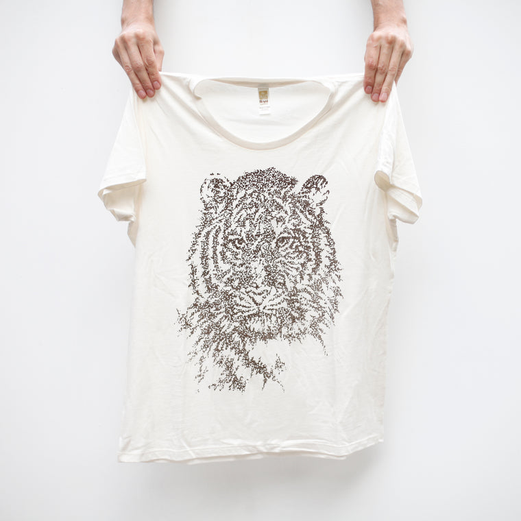 Women's Eco-Friendly Bamboo / Organic Cotton Tiger T-Shirt Made in USA